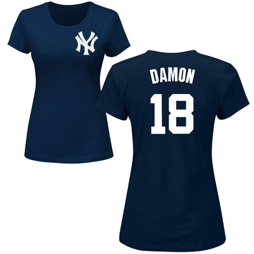 MLB Women's Nike New York Yankees #18 Johnny Damon Navy Blue Name & Number T-Shirt