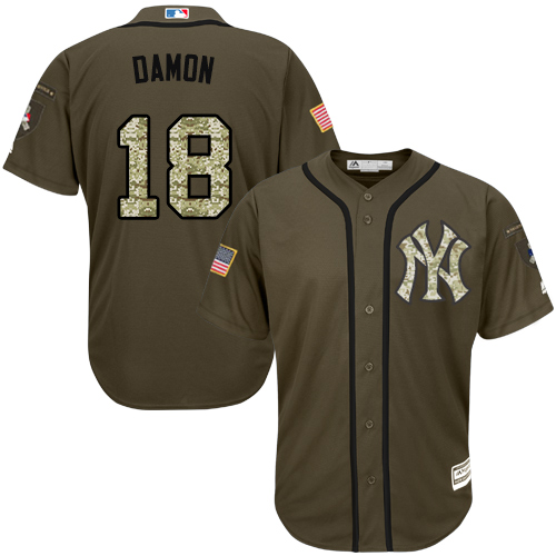 Men's Majestic New York Yankees #18 Johnny Damon Authentic Green Salute to Service MLB Jersey