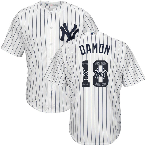 Men's Majestic New York Yankees #18 Johnny Damon Authentic White Team Logo Fashion MLB Jersey