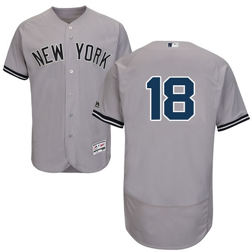 Men's Majestic New York Yankees #18 Johnny Damon Grey Road Flex Base Authentic Collection MLB Jersey