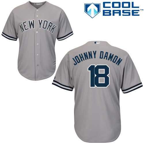 Men's Majestic New York Yankees #18 Johnny Damon Replica Grey Road MLB Jersey