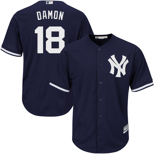 Men's Majestic New York Yankees #18 Johnny Damon Replica Navy Blue Alternate MLB Jersey