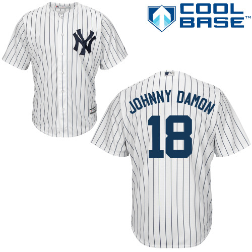 Men's Majestic New York Yankees #18 Johnny Damon Replica White Home MLB Jersey