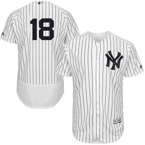 Men's Majestic New York Yankees #18 Johnny Damon White Home Flex Base Authentic Collection MLB Jersey