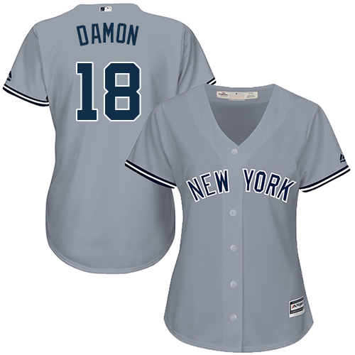 Women's Majestic New York Yankees #18 Johnny Damon Authentic Grey Road MLB Jersey