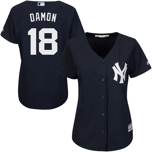Women's Majestic New York Yankees #18 Johnny Damon Authentic Navy Blue Alternate MLB Jersey