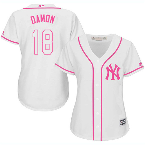 Women's Majestic New York Yankees #18 Johnny Damon Authentic White Fashion Cool Base MLB Jersey