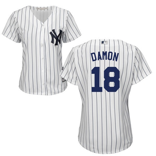 Women's Majestic New York Yankees #18 Johnny Damon Authentic White Home MLB Jersey