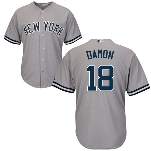 Youth Majestic New York Yankees #18 Johnny Damon Authentic Grey Road MLB Jersey