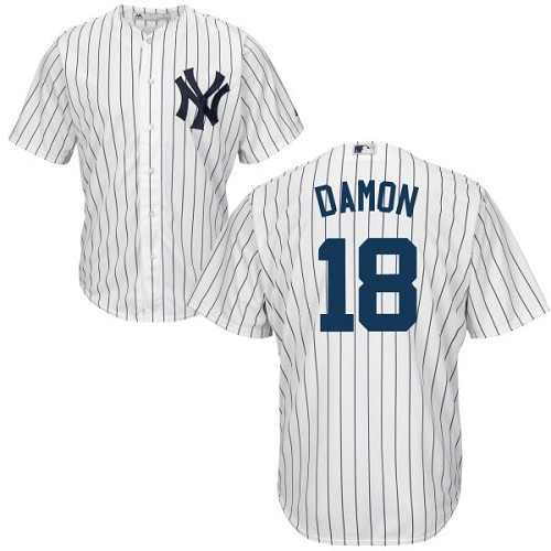 Youth Majestic New York Yankees #18 Johnny Damon Authentic White Home MLB Jersey