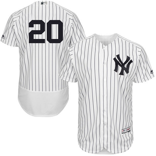 Men's Majestic New York Yankees #20 Jorge Posada White Home Flex Base Authentic Collection MLB Jersey