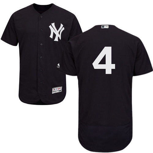 Men's Majestic New York Yankees #4 Lou Gehrig Navy Blue Alternate Flex Base Authentic Collection MLB Jersey