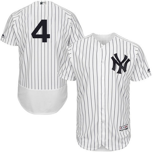 Men's Majestic New York Yankees #4 Lou Gehrig White Home Flex Base Authentic Collection MLB Jersey