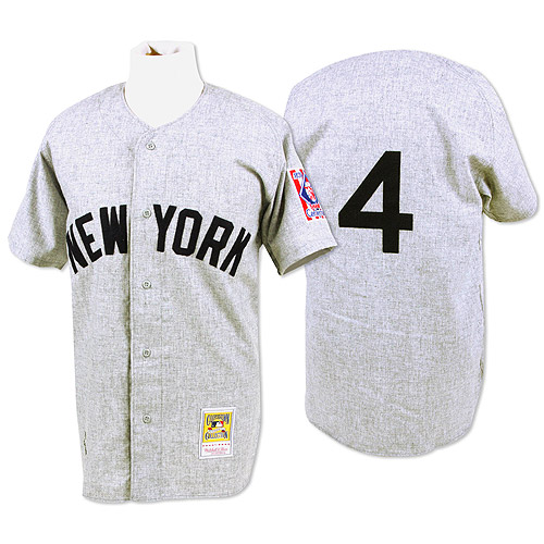 Men's Mitchell and Ness 1939 New York Yankees #4 Lou Gehrig Replica Grey Throwback MLB Jersey