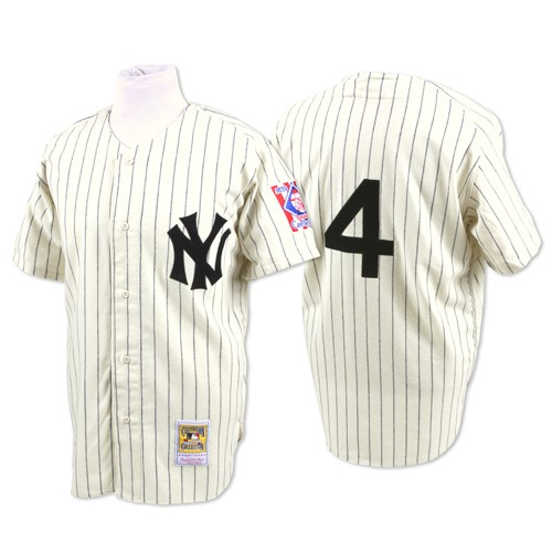 Men's Mitchell and Ness New York Yankees #4 Lou Gehrig Replica White Throwback MLB Jersey