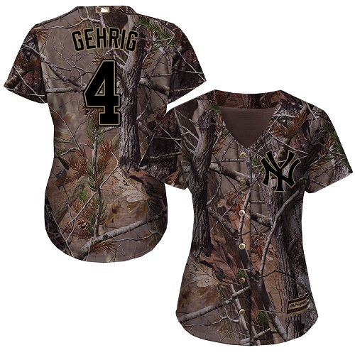 Women's Majestic New York Yankees #4 Lou Gehrig Authentic Camo Realtree Collection Flex Base MLB Jersey