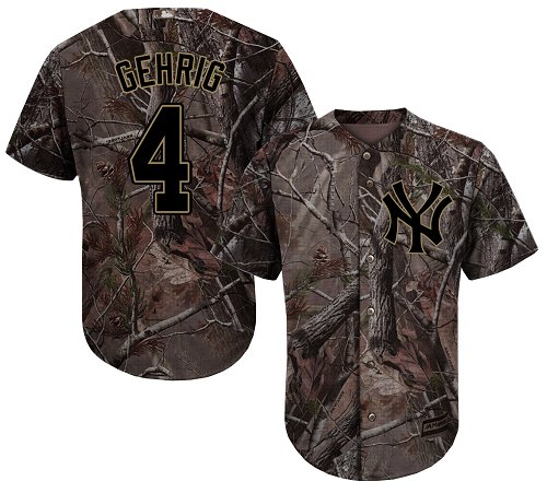 Youth Majestic New York Yankees #4 Lou Gehrig Authentic Camo Realtree Collection Flex Base MLB Jersey