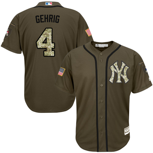 Youth Majestic New York Yankees #4 Lou Gehrig Authentic Green Salute to Service MLB Jersey