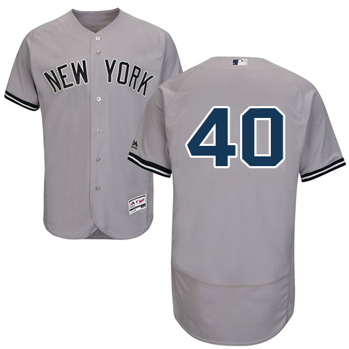 Men's Majestic New York Yankees #40 Luis Severino Grey Flexbase Authentic Collection MLB Jersey