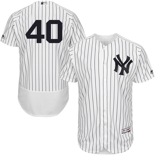 Men's Majestic New York Yankees #40 Luis Severino White/Navy Flexbase Authentic Collection MLB Jersey