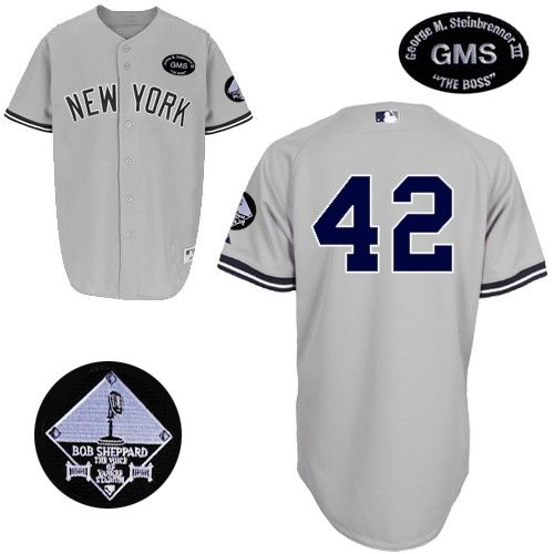 Men's Majestic New York Yankees #42 Mariano Rivera Authentic Grey GMS