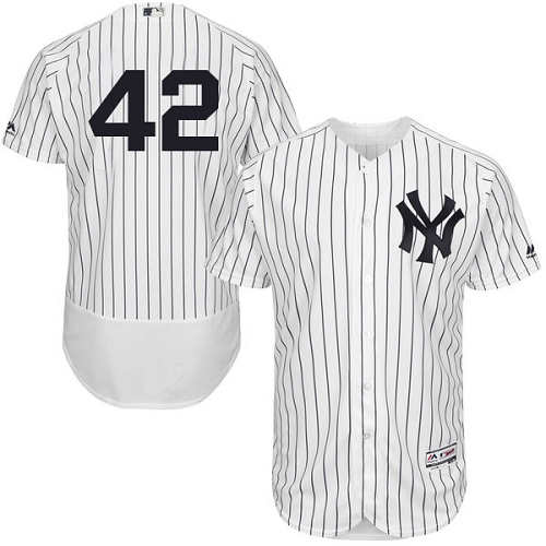 Men's Majestic New York Yankees #42 Mariano Rivera White Home Flex Base Authentic Collection MLB Jersey