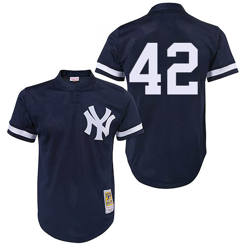Men's Mitchell and Ness 1995 New York Yankees #42 Mariano Rivera Authentic Navy Blue Throwback MLB Jersey