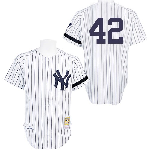 Men's Mitchell and Ness Practice New York Yankees #42 Mariano Rivera Authentic White Throwback MLB Jersey