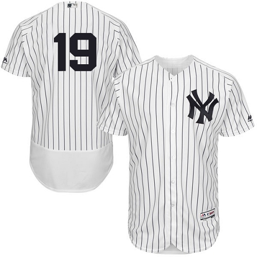 Men's Majestic New York Yankees #19 Masahiro Tanaka White Home Flex Base Authentic Collection MLB Jersey
