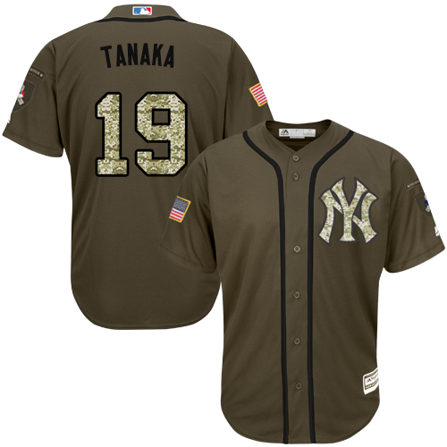Youth Majestic New York Yankees #19 Masahiro Tanaka Authentic Green Salute to Service MLB Jersey