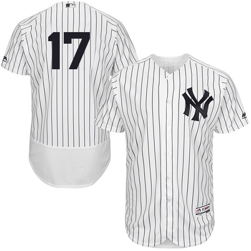 Men's Majestic New York Yankees #17 Matt Holliday White/Navy Flexbase Authentic Collection MLB Jersey