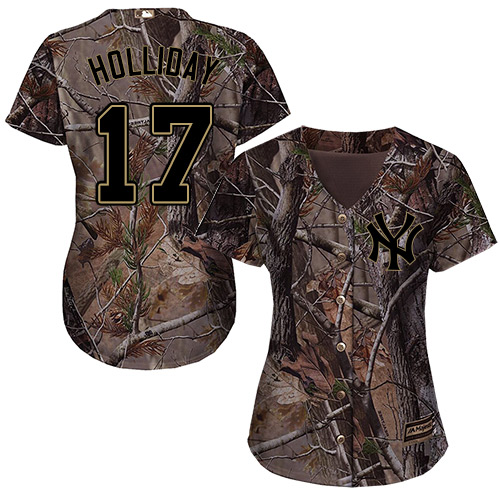 Women's Majestic New York Yankees #17 Matt Holliday Authentic Camo Realtree Collection Flex Base MLB Jersey