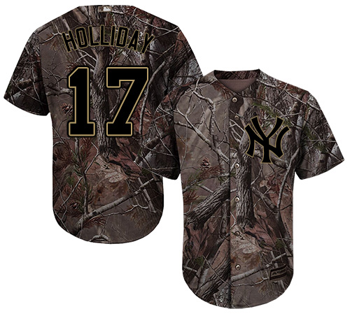 Youth Majestic New York Yankees #17 Matt Holliday Authentic Camo Realtree Collection Flex Base MLB Jersey