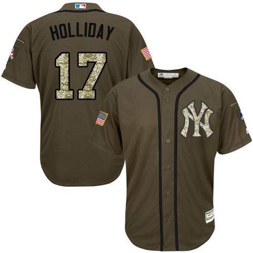 Youth Majestic New York Yankees #17 Matt Holliday Authentic Green Salute to Service MLB Jersey