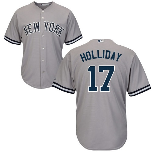 Youth Majestic New York Yankees #17 Matt Holliday Authentic Grey Road MLB Jersey