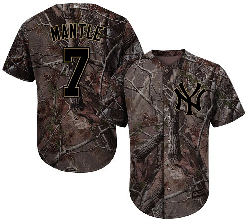 Men's Majestic New York Yankees #7 Mickey Mantle Authentic Camo Realtree Collection Flex Base MLB Jersey