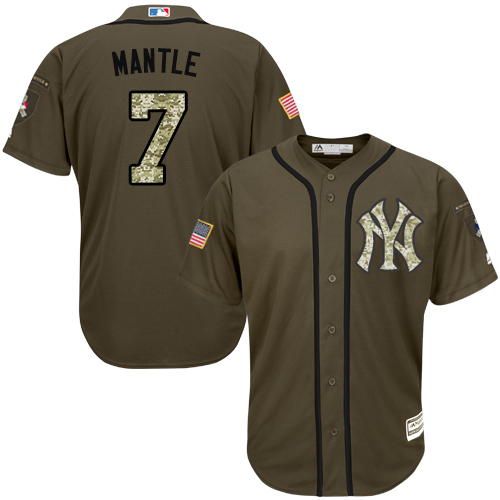 Men's Majestic New York Yankees #7 Mickey Mantle Authentic Green Salute to Service MLB Jersey