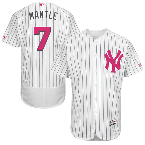 Men's Majestic New York Yankees #7 Mickey Mantle Authentic White 2016 Mother's Day Fashion Flex Base MLB Jersey