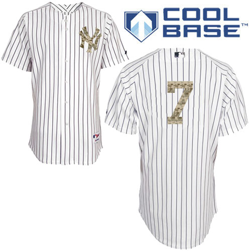 Men's Majestic New York Yankees #7 Mickey Mantle Authentic White USMC Cool Base MLB Jersey