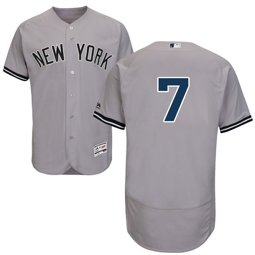 Men's Majestic New York Yankees #7 Mickey Mantle Grey Road Flex Base Authentic Collection MLB Jersey