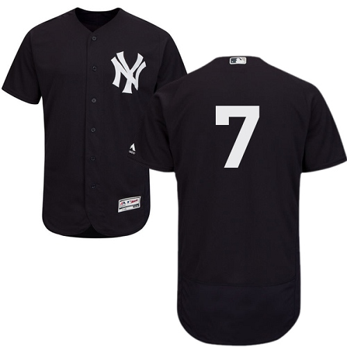 Men's Majestic New York Yankees #7 Mickey Mantle Navy Blue Alternate Flex Base Authentic Collection MLB Jersey