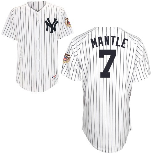 Men's Majestic New York Yankees #7 Mickey Mantle Replica White 75TH Patch MLB Jersey