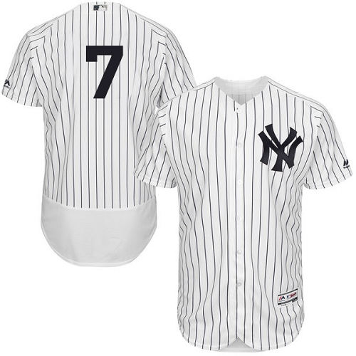 Men's Majestic New York Yankees #7 Mickey Mantle White Home Flex Base Authentic Collection MLB Jersey