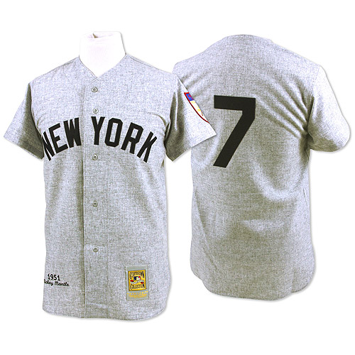 Men's Mitchell and Ness 1951 New York Yankees #7 Mickey Mantle Authentic Grey Throwback MLB Jersey
