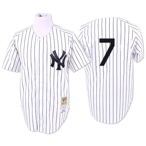 Men's Mitchell and Ness 1951 New York Yankees #7 Mickey Mantle Authentic White Throwback MLB Jersey