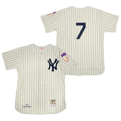 Men's Mitchell and Ness 1951 New York Yankees #7 Mickey Mantle Replica Cream Throwback MLB Jersey