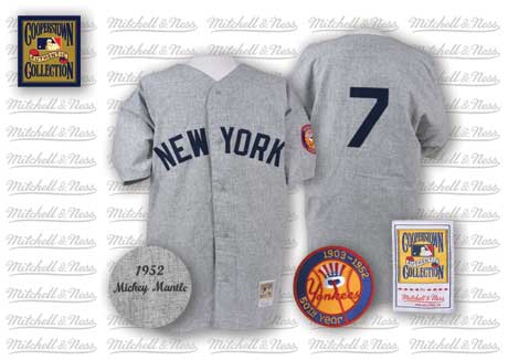 Men's Mitchell and Ness 1952 New York Yankees #7 Mickey Mantle Replica Grey Throwback MLB Jersey