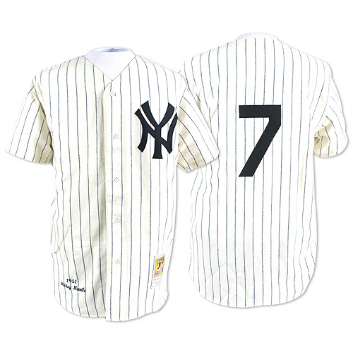 Men's Mitchell and Ness New York Yankees #7 Mickey Mantle Replica White Throwback MLB Jersey