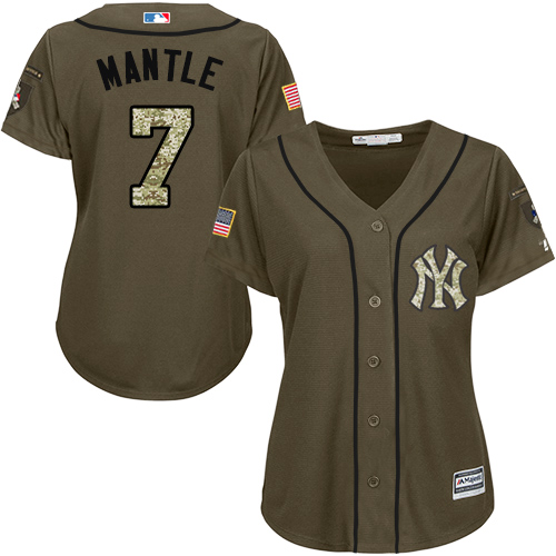 Women's Majestic New York Yankees #7 Mickey Mantle Authentic Green Salute to Service MLB Jersey
