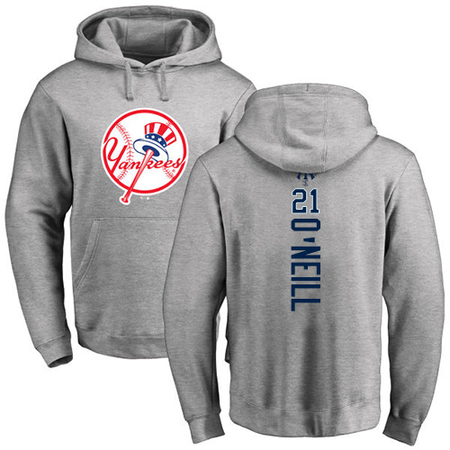 MLB Nike New York Yankees #21 Paul O'Neill Ash Backer Pullover Hoodie